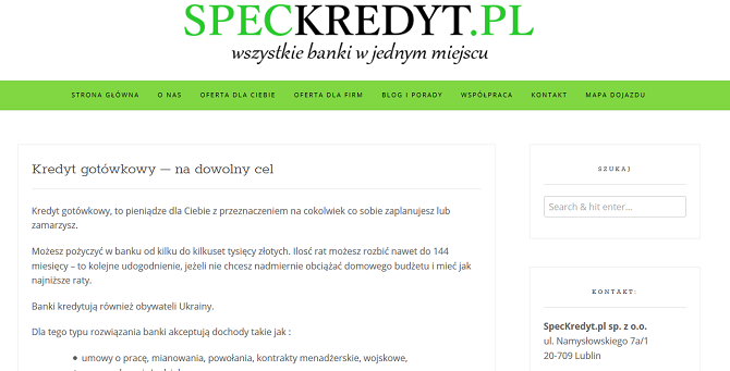 SPEC Kredyt Opinie speckredyt.pl (23 Opinie)